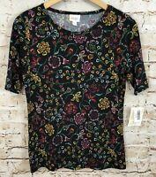 Lularoe Gigi shirt top womens medium new black floral C6