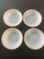 4 Anchor Hocking Milk Glass Berry/Dessert  Bowls w/ Gold Trim #2374 USA E47