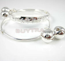 1 Pair Child Baby Bangle Bracelet Anklet hOT Sterling Silver Plated Jewelry FOUK