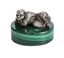 Sterling Silver miniature Reclining Monk figure on Malachite base
