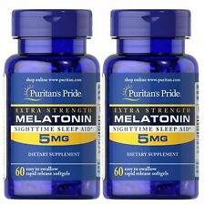 Puritan's Pride Melatonin Extra Strength 5 mg Sleep Aid 60 Softgels (2 PACK)