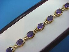 18K SOLID YELLOW GOLD GENUINE AMETHYST 20.0 CT T.W. VINTAGE BRACELET 16.2 GRAMS