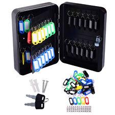 48 Hook Key Box Metal Safe  w/Tag Case Cabinet Home Lock Storage Black