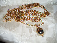 VINTAGE GOLDTONE MULTI-STRAND GRADUATED CHAINS/BALL PENDANT  STUNNING STATEMENT