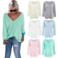 Women Knitted Sweater V-Neck Loose Jumper Long Sleeve Shirt Pullover Blouse Tops