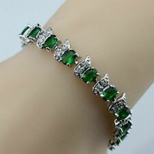 Green Emerald Water Drop 925 Sterling Silver Bracelet White Topaz Link Chain 7-8