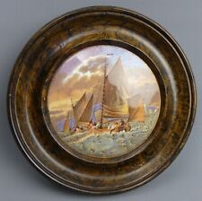 More details for victorian framed coloured prattware pot lid hauling in the trawl c.1870