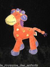 Doudou Girafe orange jaune violette parme crinière en laine Nicotoy 23 cm