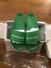 Balenciaga Green Leather Slides Size US 9.5