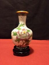 Vintage Chinese Cloisonne White Floral & Bird Vase With Wooden Stand Blue Bottom