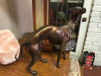 LARGE RARE bronze brass Greyhound Whippet Dog statue unique vintage sculpture