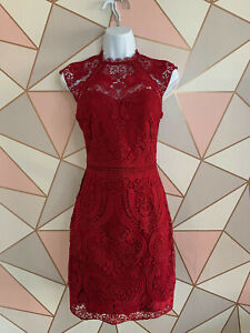 Lipsy - Red Lace Aline Dress - RRP £75 -