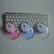 USB LED Optical Transparent Creative Computer Mute Wireless Mouse PC Laptop Cute