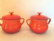 2 Le Creuset Stoneware FLAME ORANGE RED Mini Individual Bean Pots
