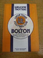 13/09/1975 Luton Town v Bolton Wanderers  . Footy Progs (aka bobfrankandelvis) a