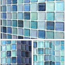 """5.3""""/13.4cm Beauty Anti Fungal Waterproof Wall Easy 3D Tile Sticker SAMPLE Blue"""