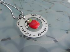 Personalised  Hand Stamped Teachers  end of year Gift Pendant or Keyring