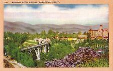 Postcard California Pasadena Arroyo Seco Bridge MINT Linen 1940s Unused