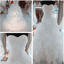 Plus Size White ivory Ruffles Organza Wedding Dress Ball Bridal Gown Custom 2-28