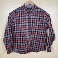 Eddie Bauer Flannel Button Up Shirt Mens Size 2XL Red Black Plaid Long Sleeve