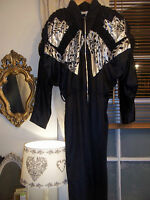 VINTAGE 1970S BATWING BLACK/SILVER METALLIC DISCO PARTY JUMPSUIT STUNNING!!!