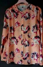 Size 14 KELLY & GRACE Pale Coral Pink Purple Floral Collarless Summer Blouse