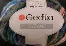 (149 €/kg):850 g BYZANZ von Gedifra, Bändchen, blau/grün/lila/Goldglitzer  #1634