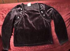 Black Velvet Long Sleeve Shirt Top Girl's Looks Like Jacket Over It Size Medium