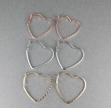 """Heart hoop earrings set 3 pair hoops earrings metal leverback posts 1 5/8"""" wide"""