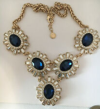 Signed Rhinestone Statement Necklace Charter Club HUGE Clear Blue Gold Tone EUC