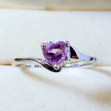 Vintage State Sale 10k White Gold, Amethyst Heart Ring 1.5 Grams Sz 8.75