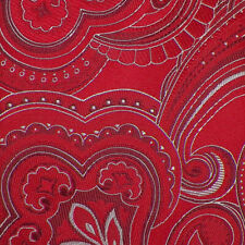 DONALD TRUMP Mens Red Silver PAISLEY Handmade Woven Silk Tie NWT