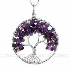 1pc Natutal GEMSTONE Tree of Life Pendant Chip Healing Chakra Charm for Necklace Amethyst