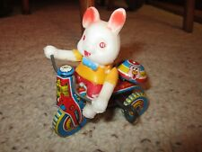 Older Bunny Tin Wind-Up Tricycle Works!!