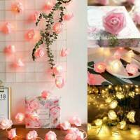 10/20/40LED Rose Light String Fairy Lights For Bedroom Xmas Wedding Party Decor