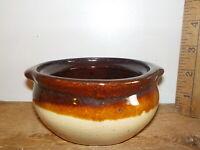 "Antique Stoneware Bean Crock no Lid 2 Tone Brown glaze 4.5"""