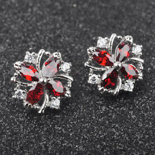 Red Garnet White Topaz Gemstone For Women Silver Jewelry Stud Earrings PE0125