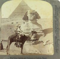 .EGYPT 1902, THE GREAT SPHINX & PYRAMID, UNDERWOOD STEREOVIEW CARD.