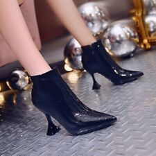 Women Warm Lining Autumn Winter Pointy Toe Patent Leather Zip Up Ankle Boots New