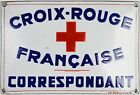 Old French enamel building office sign wall plate plaque notice Red Cross agent