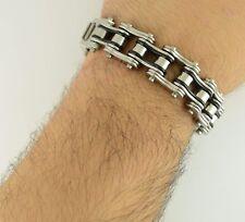 "Men's Harley Bike Chain Bracelet 316L Stainless Steel 3/4"" Wide 8.5"" Length"