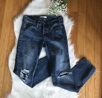 Abercrombie And Fitch Women's Distressed Jeans Sz 00 W 24 W/ 3 Buttons Fly Dark