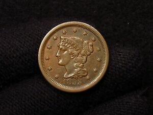 1855 Braided Hair Large Cent CHOICE AU+