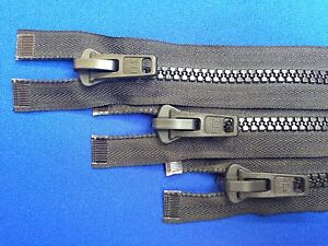 """ZIP OPEN ENDED ALL PLASTIC 53CM 21"""" 10 WEIGHT SLIDER BLACK CHUNKY HEAVY DUTY"""