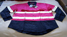 Ritemate Australia Mens Pink / Navy Long Sleeve Shirt 3M Reflective Size M New