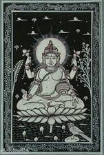 Hindu Goddess of Money wealth Devi Laxmi Traditional Painting Art Artist Lotus