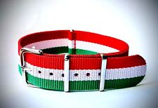 NATO Replacement Watch Band Strap Nylon 20mm Red White Green Stripes