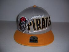 Pittsburgh Pirates Men's Gray & Yellow Snapback Baseball Hat Cap NEW!