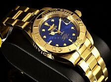 New Invicta Pro Diver Automatic w/24 Jewels Gold Tone Blu Dial SS Bracelet Watch