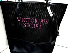 Victoria's Secret Black Tote Day Bag Mesh Tassel Pink Logo NWT Limited Edition.